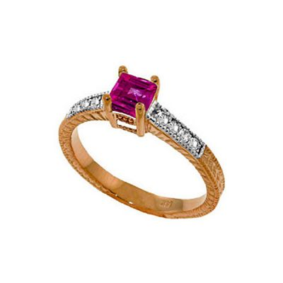 QP Jewellers Diamond & Pink Topaz Ornate Gemstone Ring in 14K Rose Gold - Size A