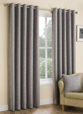 Hugh - Silver - Eyelet Curtains - 46x54