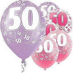 50th Birthday Pink Lilac 12 Inch Latex Balloons