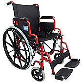 Aidapt Self Propelled Steel Transit Chair in Red