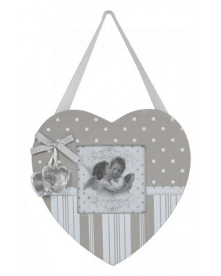 Grey And White Vintage Love Heart Hanging Photo Frame 3 X 3