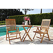 60cm Teak Bistro Table with Two Harrogate Reclining Chairs