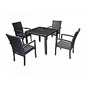 Rio (Armed) 4 Chairs And Open Leg Square Table Set in Black