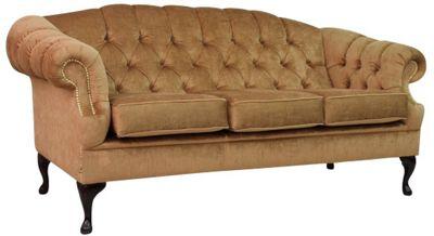 Victoria 3 Seater Chesterfield Perla Bronze Velvet Sofa Brass Studs