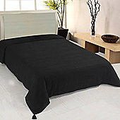 Homescapes Cotton Rajput Ribbed Black Throw, 255 x 360 cm