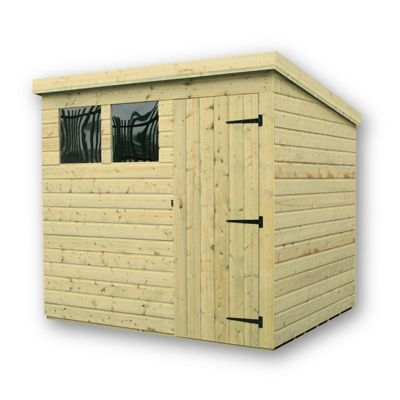 7 x 4 Maldon Pressure Treated T&G Pent Shed + 2 Windows + Single Door (7ft x 4ft)