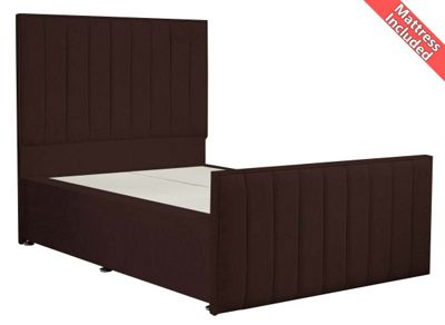 Luxan Hampstead Dun Colours Bed Set - Chocolate - Small Single 2ft6 - 2 Drawers