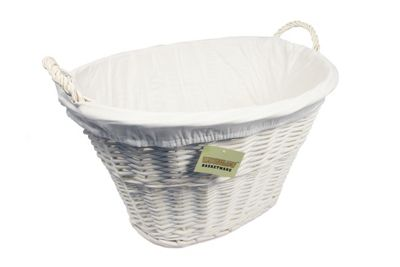 Woodluv White Willow Wicker Storage Laundry Basket With White Lining