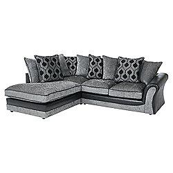 Arabella Left Hand Corner Chaise, Geometric Dark Grey