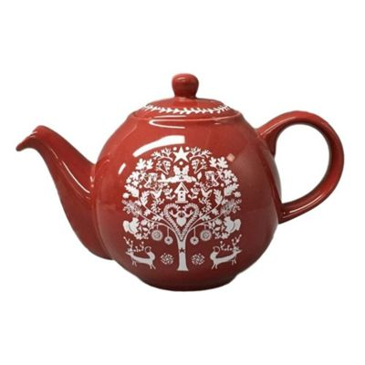 Globe 4 Cup Teapot Red Winter Woodland