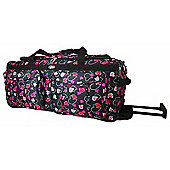 Chervi Black Hearts Travel Bag with wheels