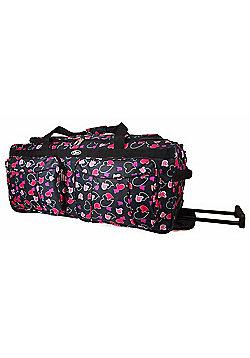 Chervi Black Hearts Travel Bag with wheels