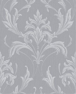 Boutique Oxford Embellished Damask Silver/Grey Wallpaper