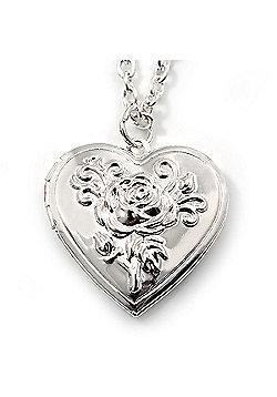 Medium Silver Tone Heart with Rose Motif Locket Pendant - 44cm L/ 6cm Ext