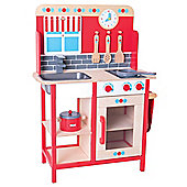 Bigjigs Toys Children's Wooden Roleplay Kitchen with Sink, Cooker and Additional Accessories