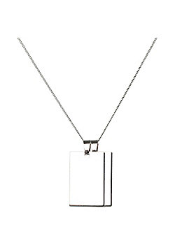 Urban Male Silver Stainless Steel Double Dog Tag Pendant on 24in Chain Necklace