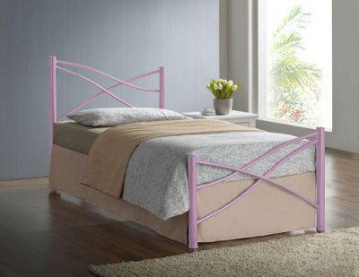 Comfy Living 3ft Single Modern Metal Bed Frame in Pink