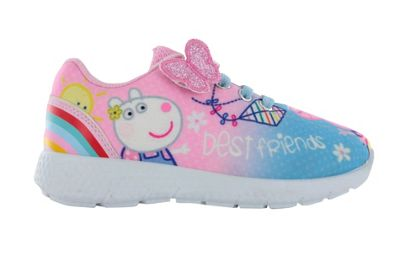 Girls Peppa Pig Pink Hook & Loop Sports Trainers Shoes Pumps UK Infant Size 6