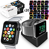 Orzly ULTIMATE PACK for Apple Watch (38 MM) - Nightstand & 20 Assorted Face Plates