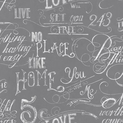 Fresco Chalk Board Grey Wallpaper