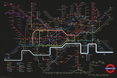Transport For London Black Map Poster 61 x 91.5cm