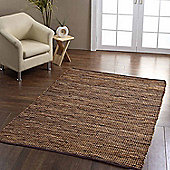 Homescapes Madras Leather Hemp Rug Brown, 66 x 200 cm