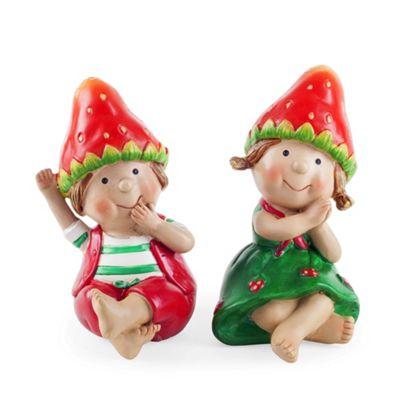 John & Jen the Sitting Strawberry Twins Garden Ornaments