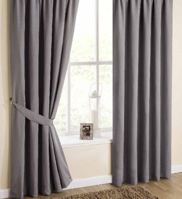 Hamilton McBride Faux Silk Pencil Pleat Aubergine Curtains - 90x90 Inches (229x229cm) Includes Tiebacks