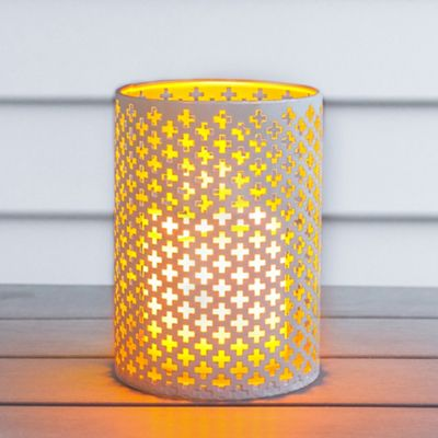 White Geometric Battery LED Candle Lantern with Copper Interior