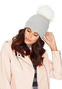 F&F Ribbed Knit Faux Fur Bobble Hat - Grey