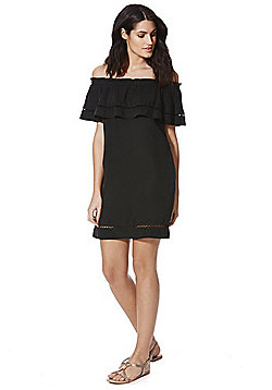 F&F Tencel® Frill Trim Off the Shoulder Dress - Black