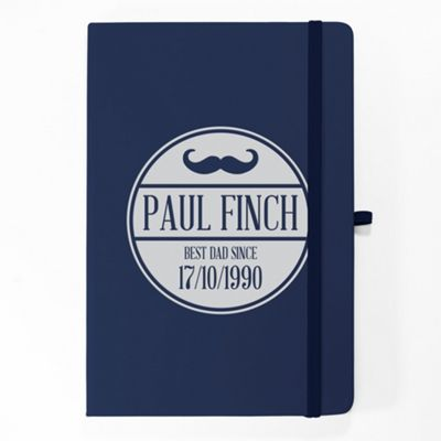 Father's Day Personalised A5 PU Notebook -Moustache
