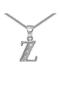 Jewelco London 9 Carat White Gold Elegant Diamond-Set Pendant on an 18 inch Pendant Chain Necklace - Inital Z