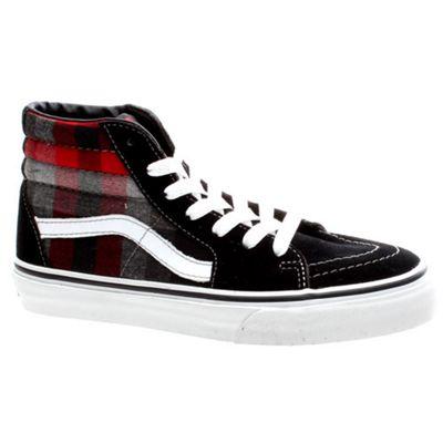 Vans SK8 Hi (Plaid) Black/Red Kids Shoe D5F2DN
