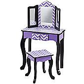 Teamson Kids - Purple Chevron vanity Table & Stool (Purple/Black)
