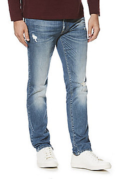 F&F Distressed Stretch Slim Leg Jeans - Blue