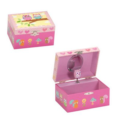 Girls Musical Jewellery Boxes - Woodland Owls