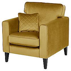 Fox & Ivy Dexter Velvet Armchair, Mustard