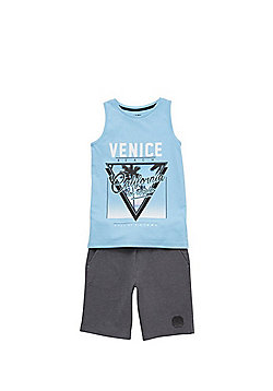 F&F Venice Beach Vest and Shorts Set - Blue/Grey