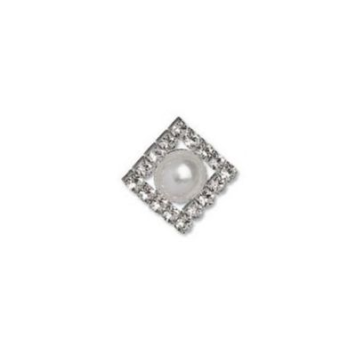 Impex Diamante Square Button - Crystal and Nickel 23mm