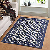 Homescapes Halmastad Handwoven Blue and White Scandi Style 100% Cotton Printed Rug, 160 x 230 cm