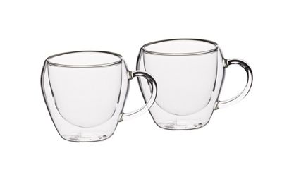 KitchenCraft Le'Xpress Double Walled Glass Tea Cups Set of 2 230ml