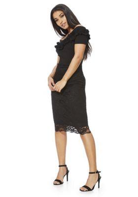 Feverfish Ruffle Bardot Lace Dress 12 Black