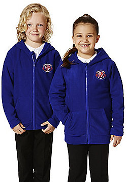 Unisex Embroidered School Zip-Through Fleece with Hood - Bright royal blue
