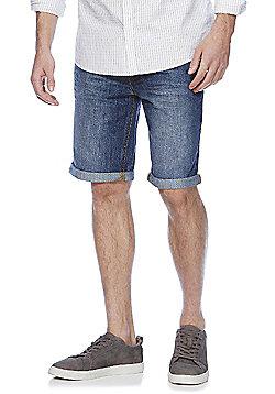 F&F Denim Turn-Up Shorts - Mid wash