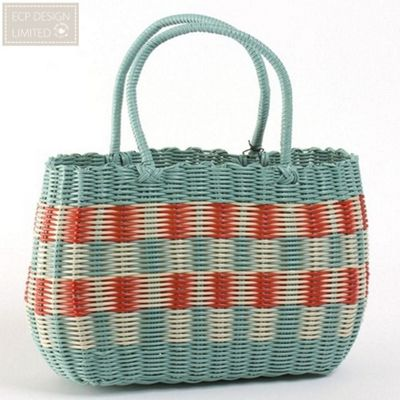 ECP Design Retro Woven Vintage Style Shopping Basket Bag in Aqua Blue