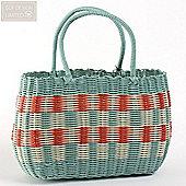 ECP Design Retro Woven Vintage Style Shopping Basket Bag in Aqua Blue