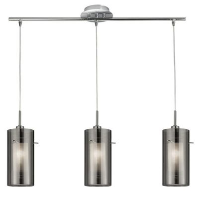 DUO 2 - 3 LIGHT CEILING BAR WITH SMOKEY OUTER/FROSTED INNER GLASS SHADES