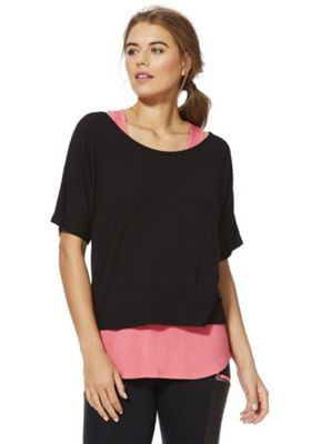 F&F Active 2 in 1 T-Shirt and Vest Top Black/Pink XS