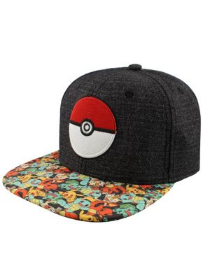 Pokemon Pokeball Characters Snapback Cap Grey